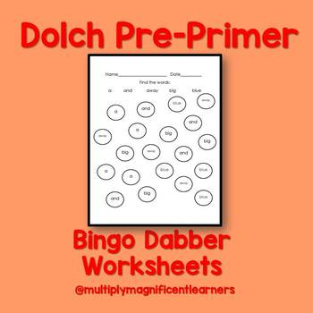 Dolch Sight Words Do-A-Dot Word Search