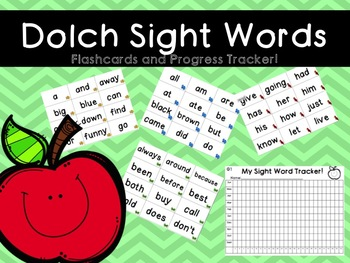 Dolch Sight Words- FLASHCARDS AND PROGRESS TRACKER!