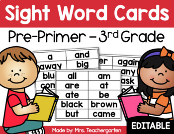 Sight Word Cards - Editable