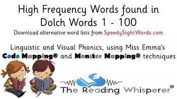 Dolch (Sight Words) - First 100 Words - Code Mapped® and Monster Mapped®