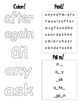 Dolch Sight Words- First Grade