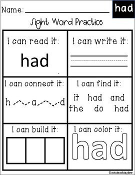 Dolch Sight Word Worksheets- First Grade
