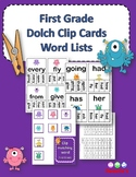 Dolch Sight Words First Grade Clip / Clothespin Cards - Monster Theme