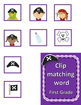 Dolch Sight Words First Grade Clip / Clothespin Cards - Pirate Theme