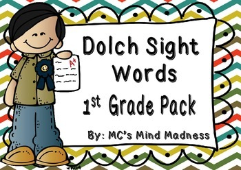 Dolch Sight Words First Grade Pack Flash Cards