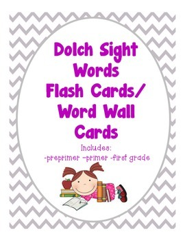 Dolch Sight Words Flash Cards/ Word Wall Cards