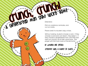 Dolch Sight Words: Gingerbread Boy Sight Word Game