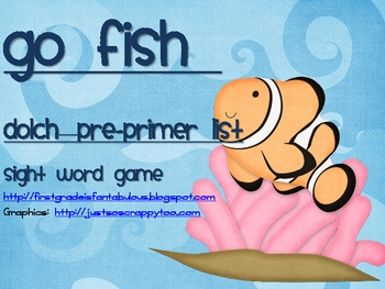 "Dolch Sight Words ""Go Fish"" Pre-Primer List"