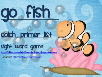 """Dolch Sight Words """"Go Fish"""" Primer List"""