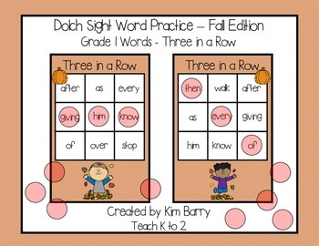 Dolch Sight Words Grade 1- Three in a Row - Fall Edition