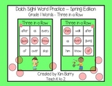 Dolch Sight Words Grade 1- Three in a Row - Spring Edition