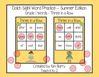 Dolch Sight Words Grade 1- Three in a Row - Summer Edition
