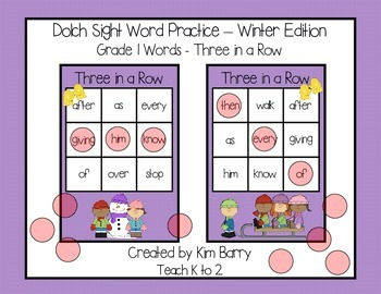 Dolch Sight Words Grade 1- Three in a Row - Winter Edition