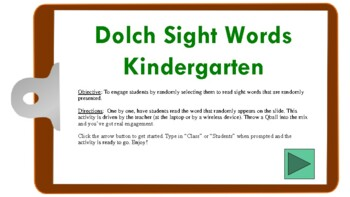 Dolch Sight Words (K) Randomized