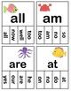 Dolch Sight Words Kindergarten Clip / Clothespin Cards - Ocean Theme