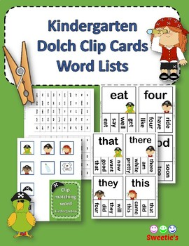 Dolch Sight Words Kindergarten Clip / Clothespin Cards - Pirate Theme
