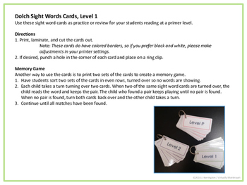 Dolch Sight Words Level 1 Cards and Memory Game