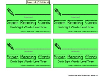 Dolch Sight Words: Level 3 (Super Reading Cards)