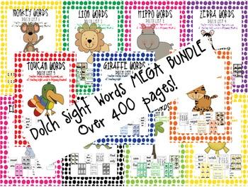 Dolch Sight Words List 1-11 Jungle Theme BUNDLE