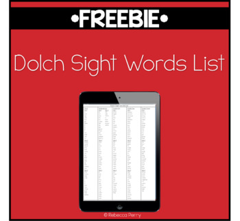 Dolch Sight Words List - Pre-K to Grade Three