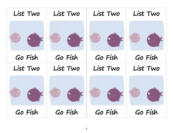 Dolch Sight Words List Two Go Fish