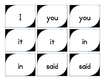 Dolch Sight Words MEMORY Game (Pre-primer)
