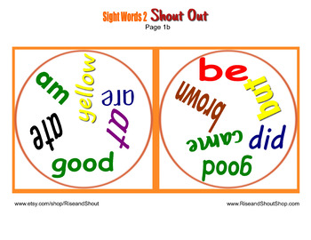 "Dolch Sight Words Matching Game Shout Out Set 2; 31, 3"" & 5"" cards; Pre & primer"