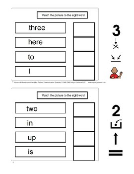 Dolch Sight Words Matching with Boardmaker Pre k