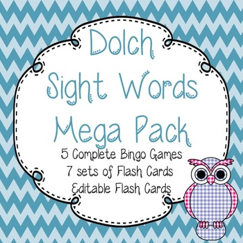 Dolch Sight Words Mega Pack-Flash Cards (7 Packs)and Bingo (5 games)-Chevron
