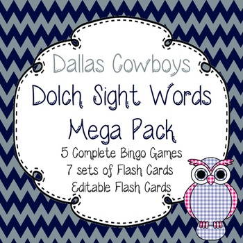 Dolch Sight Words Mega Pack-Flash Cards and Bingo-Dallas Cowboys