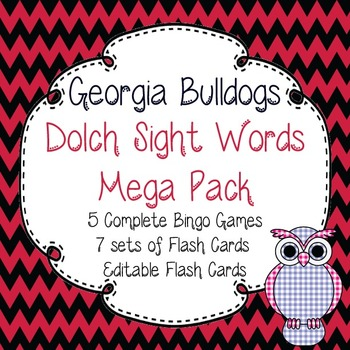 Dolch Sight Words Mega Pack-Flash Cards and Bingo-Georgia Bulldogs