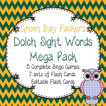 Dolch Sight Words Mega Pack-Flash Cards and Bingo-Green Ba