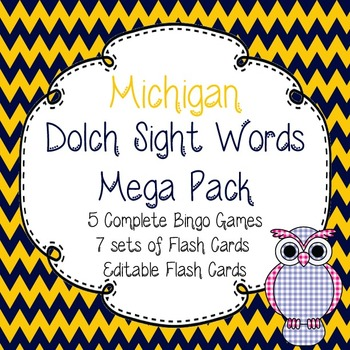 Dolch Sight Words Mega Pack-Flash Cards and Bingo-Michigan Wolverines
