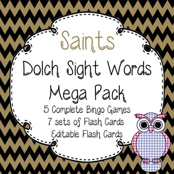 Dolch Sight Words Mega Pack-Flash Cards and Bingo-New Orleans Saints