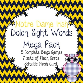 Dolch Sight Words Mega Pack-Flash Cards and Bingo-Notre Dame Irish