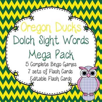 Dolch Sight Words Mega Pack-Flash Cards and Bingo-Oregon Ducks