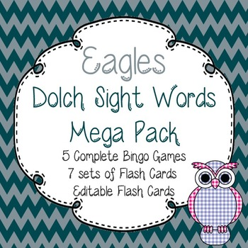 Dolch Sight Words Mega Pack-Flash Cards and Bingo-Philadelphia Eagles
