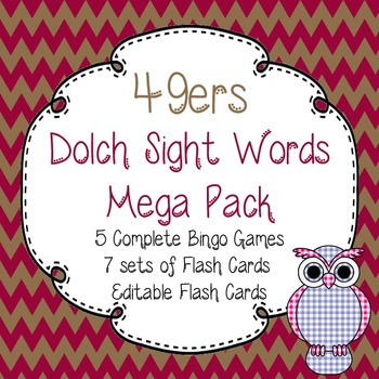 Dolch Sight Words Mega Pack-Flash Cards and Bingo-San Francisco 49ers