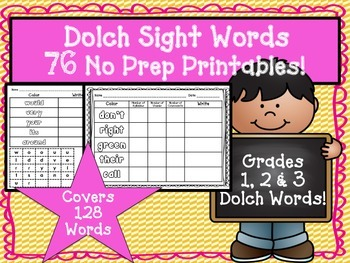 Sight Words Dolch No Prep Practice Sheets Grades 1, 2 & 3! 76 Pages!