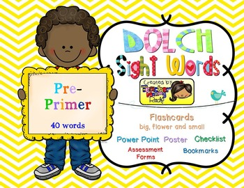 Dolch Sight Words PRE-PRIMER [Bookmarks, Flashcards, Power