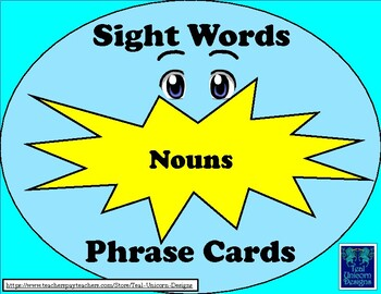 Sight Words Phrase Cards - Nouns