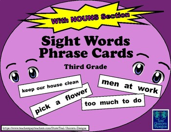 Sight Words Phrase Cards - Third Grade - With NOUNS Section