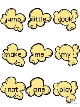 Dolch Sight Words - Popcorn Words - Pre-Primer (Kindergarten) Word Wall Cards
