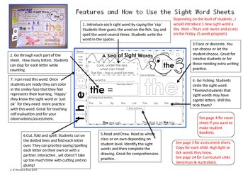 Dolch Sight Words Practice Sheets List 1 -No prep!