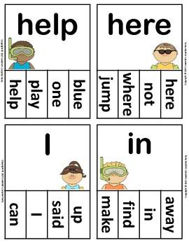 Dolch Sight Words Pre Kindergarten Clip / Clothespin Cards - Ocean Theme