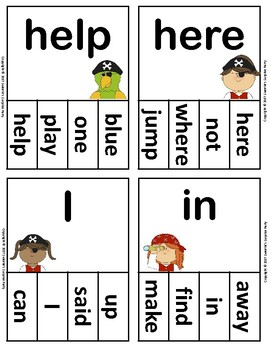 Dolch Sight Words Pre Kindergarten Clip / Clothespin Cards - Pirate Theme