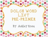 Dolch Sight Words Pre-Primer