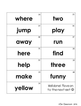 Dolch Sight Words Key Ring (Pre-Primer Word List)