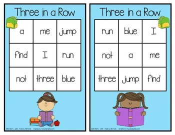 Dolch Sight Words Pre Primer - Three in a Row -Back to School Edition