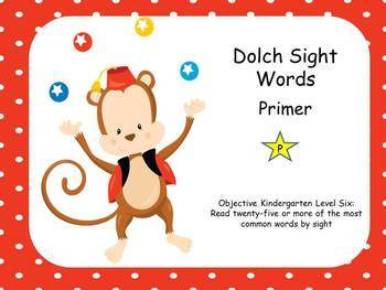 Dolch Sight Words Pre Primer and Primer Circus Theme